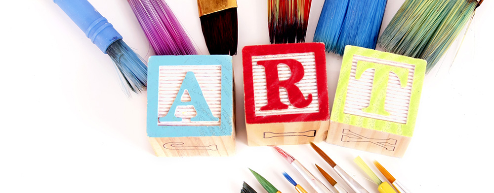 paint brushes and blocks express a love for art.